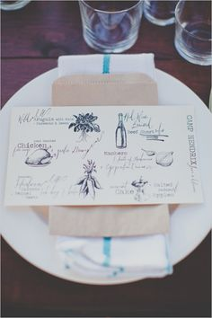 Entice Your Guests with These Lovely Wedding Menu Stationery Ideas - MODwedding - Wedding interests Wedding Menu Cards, Wedding Paper, Wedding Invitation Design, Wedding Stationary, Wedding Graphics, Mod Wedding, Wedding Tables, Wedding Vintage, Wedding Catering