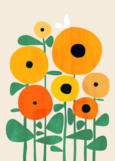 whimsical geometric illustration of bright yellow sunflowers with a bee