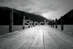 Looking down the Jetty into Lake Rotoiti, Nelson Lakes National Park,. Image Now, Lakes, New Zealand, Monochrome, National Parks, Royalty Free Stock Photos, Black And White, Outdoor, Outdoors