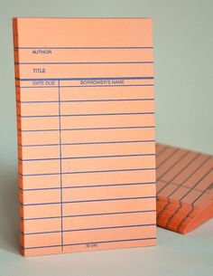 Borrower card notepad, awesome.