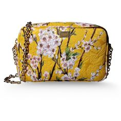 Dolce & Gabbana Medium Fabric Bag ($745) ❤ liked on Polyvore featuring bags, handbags, clutches, accessories, purses, ochre, yellow messenger bag, yellow clutches, floral clutches and floral purse
