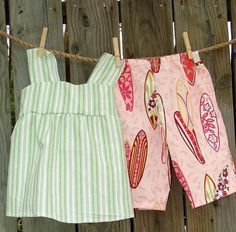 Surf's Up handmade jumper top with gaucho pants for little girls....Sizing Limited 12mos to 5T  #mimisdresshop #zibbet
