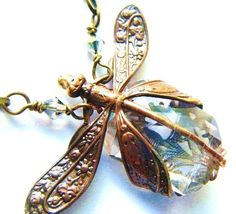 Dragonfly Necklace Harvest Pattern Art Nouveau by PhenomenaJewelry, $125.00 filigree gift insect garden woodland antique style victorian steampunk
