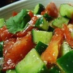 A refreshing, light salad for any hot, humid summer day! A great main dish for vegetarians, as well. The basil may be substituted with fresh parsley or mint. Be sure to make this salad just before serving.