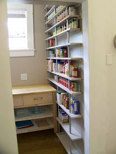 Another amazing pantry with shelves built from plumbing supplies!