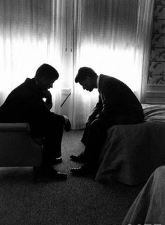 Presidential Candidate John Kennedy Conferring with Brother and Campaign Organizer Bobby Kennedy. By Hank Walker for LIFE Magazine. - #history #politics