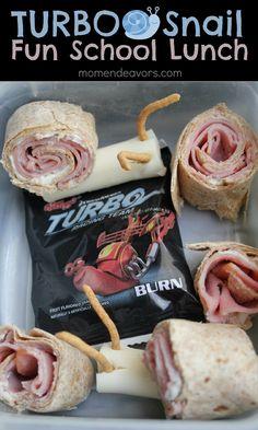 A fun & easy themed school lunch idea - a Turbo Snail Lunch!! via momendeavors.com #backtoschool #schoollunches