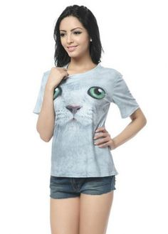 Cute Cat Print Short T Shirt for Girls on sale only US$13.77 now, buy cheap Cute Cat Print Short T Shirt for Girls at martofchina.com