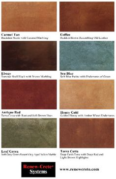 Chemical Stains Offered By Renew Crete Systems Offer Great Coloring Options For Concrete Surfaces Network Acid Stain Color Charts