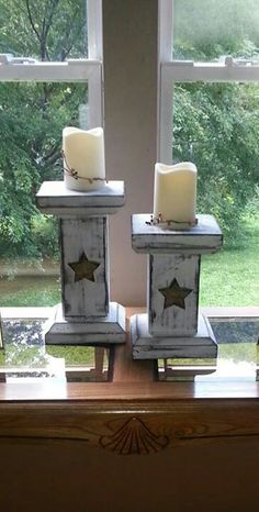 Homemade primitive candle holders in my living room! Wood Craft Patterns, Wood Block Crafts, Scrap Wood Projects, Wooden Crafts, Vinyl Projects, Homemade Candle Holders, Wooden Candle Holders, Lantern Candle Holders, Primitive Candles