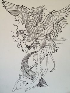 Uncolored crying phoenix warrior in cloudy sky tattoo design - Tattooimages. Tattoos Phönix, Fenix Tattoos, Body Art Tattoos, Temporary Tattoos, Japanese Tattoo Designs, Japanese Sleeve Tattoos, Aquarell Phönix Tattoo, Japanese Phoenix Tattoo, Phoenix Chinese
