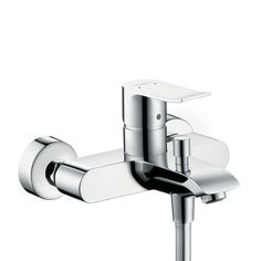 Single lever bath and shower mixer for exposed installation