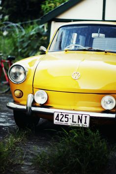 hello baby yellow vintage car!