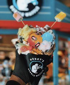 Monky's Bubble Waffle 🐒 ( Bubble Waffle, Waffles, Bubbles, Ice Cream, Photo And Video, Desserts, Instagram, Food, No Churn Ice Cream