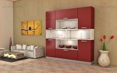Crockery Unit in MDF and Shutters in high gloss Acrylic finish Dinning Room Cabinet, Home Bar Cabinet, Cabinet Space, Crockery Cabinet, Crockery Units, Wall Storage Systems, Storage Shelves, Living Room Storage, Cabinet Design