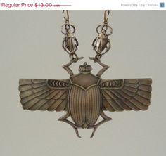 ON SALE - EGYPTIAN Scarab Pendant  Vintage Brass Stamping - Large for Necklace Egyptian Scarab, Clock, Ceiling Lights, Pendant, Stamping, Brass, Vintage, Christmas, Products