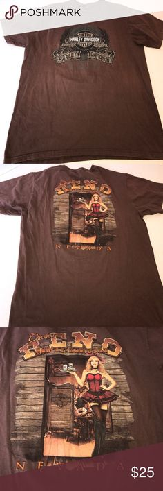 Harley Davidson XL LAS VEGAS NEVADA VINTAGE BROWN ⭐️🎓⭐️🎓COLLEGE FUNDRAISER ⭐️🎓⭐️🎓  Harley Davidson XL LAS VEGAS NEVADA VINTAGE BROWN⭐️small hole at front neck-⭐️shirt XL Tag was removed. ⭐️thank you for your support Harley-Davidson Shirts