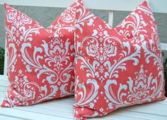LOVE these Coral Throw Pillows..... Decorative Pillows Throw Pillow Covers Accent by FestiveHomeDecor, $34.00