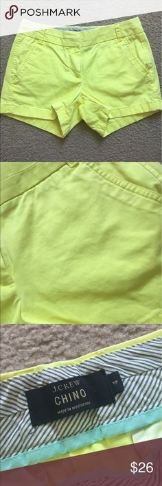 J Crew Neon Yellow Chino Shorts Size 4 bright neon yellow chino shorts by J Crew. No flaws! From spring of 2014. In excellent condition. I ship daily - excluding Sundays and holidays - and I store items in a smoke free, pet free environment. Open to offers; bundles discounted! J. Crew Shorts