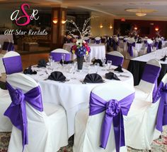 What do you think of this chair tie?  Ivory covers with purple rose bow!  #chaircoverrentals