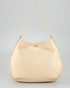 Tory Burch Pyramid Studded Hobo Bag Pale Khaki Tory Burch