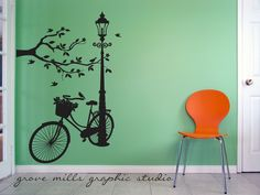 Silhouette Wall decal - Lamp and Bike wall decal - resting spot wall art. $135.00, via Etsy.