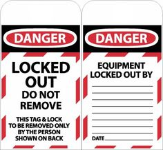 TAGS, DANGER, LOCKED OUT DO NOT REMOVE, 6X3, SYNTHETIC PAPER, 25-PACK