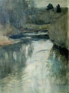 Isaac Levitan (Russian 1860–1900) [Realism, Peredvizhniki] A River, 1897.