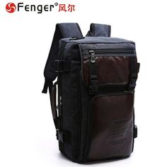 ab7495d03b Canvas With Leather Large Capacity Casual Travel Clutch Bag Laptop Backpack  For Men is high-quality. Shop on NewChic and buy the best mens backpack for  ...