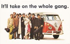 Doyle, Dane, Bernbach, short DDB, and samples of the famous ad campaign of the Sixties for Volkswagen of America. On postcards.