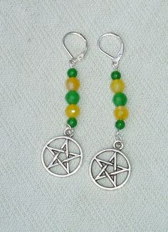 Long Green & Yellow Gemstone Beaded Pentagram Dangle Earrings