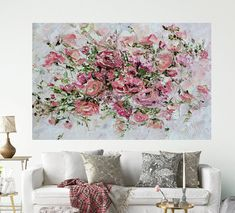 Misty Rosy Oil Painting Great Bouquet by ForestSandandAir on Etsy