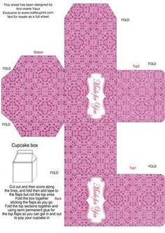 Cerise Lace Single Cupcake Presentation Box on Craftsuprint designed by Ann-marie Vaux -