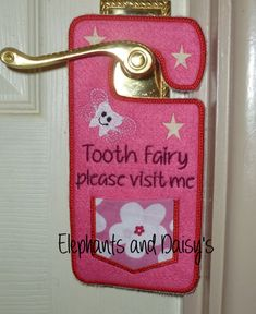 Tooth Fairy door hanger Embroidery design by ElephantsandDaisys, Machine Embroidery Applique, Applique Patterns, Embroidery Files, Sewing Patterns, Tooth Pillow, Tooth Fairy Pillow, Embroidery For Beginners, Embroidery Techniques, Tooth Fairy Doors