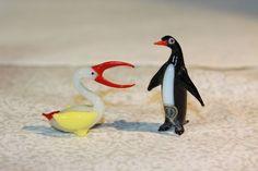 Occupied Japan Vintage Blown Glass Animals Pelican & Penguin Lot of 2