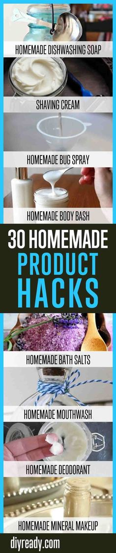 30 Homemade Product Hacks You Will Never Buy Again   Household Cleaning Products You Can Make At Home By DIY Ready. http://diyready.com/30-homemade-household-product-hacks-never-buy-these-products-again/