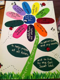 Daisy Girl Scout Promise & Law - make cut-outs that girls can stick on using magnet, velcro, etc