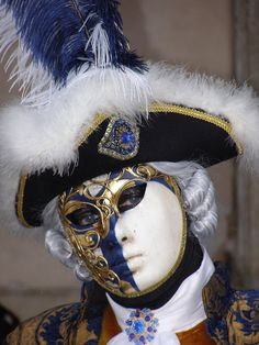 Blue and white mask. Venice Carnival 2015 by Lesley McGibbon