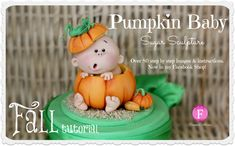 Learn how to create this super cute Pumpkin Baby Topper. It's perfect for Fall baby showers, first birthdays and much more. Place it on cupcakes, cakes or anything you want. This is a great tutorial for decorators of all levels. ♥