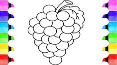 How to draw grape - how to draw grapes coloring pages , drawing fruits for kids learning video