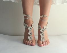 SALE... Beige Barefoot sandals Wedding beach party by beyazdukkan, $12.90