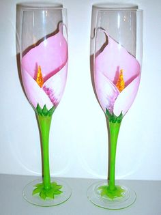 SALE / Handpainted Champagne Flutes Pink by SharonsCustomArtwork, $40.00