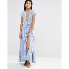 Tularosa Joel Plunge Maxi Dress ($189) ❤ liked on Polyvore featuring dresses, blue, plunge neck maxi dress, woven dress, tall maxi dresses, drawstring waist dress and rayon maxi dress