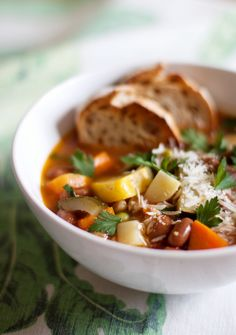 Minestrone- Be sure to serve with plenty of good, crusty bread & a drizzle of good olive oil on top.