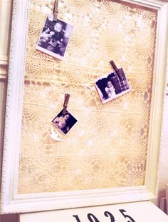 lace memo board diy! maybe make it a whiteboard with glass?