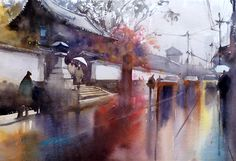 Rainy Day, Fushimi, Kyoto, Japan, watercolor by Keiko Tanabe, Dec. 2016