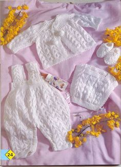 """Photo from album """"Ponto facil especial bebe on Yandex. Crochet Onesie, Crochet Baby Pants, Knitted Baby Clothes, Crochet Baby Booties, Baby Knitting Patterns, Baby Cardigan Knitting Pattern, Baby Patterns, Diy Crafts Knitting, Baby Sweaters"""