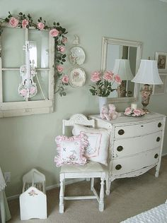 I love vintage furniture and we already have the gray wing back headboard along with shabby chic bedding from Target and window coverings need a new dresser large mirror, shelving. Under bed storage and a desk or vanity with chair Shabby Chic Mode, Modern Shabby Chic, Shabby Chic Bedrooms, Shabby Chic Kitchen, Shabby Chic Cottage, Bedroom Vintage, Vintage Shabby Chic, Shabby Chic Style, Shabby Chic Furniture