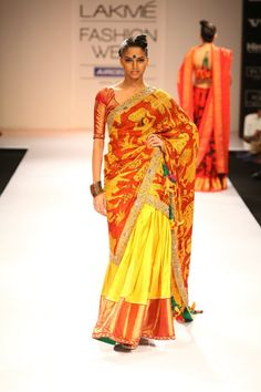 The Gaurang's collection steal the show with Sunshine yellow and Dusty Pastel color combinations.