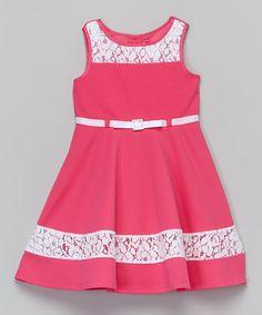 Loving this Youngland Pink & White Lace Dress - Toddler & Girls on Baby Girl Fashion, Fashion Kids, Little Girl Dresses, Girls Dresses, Frock Dress, Lace Dress, Toddler Girl Dresses, Toddler Girls, Baby Dress Design